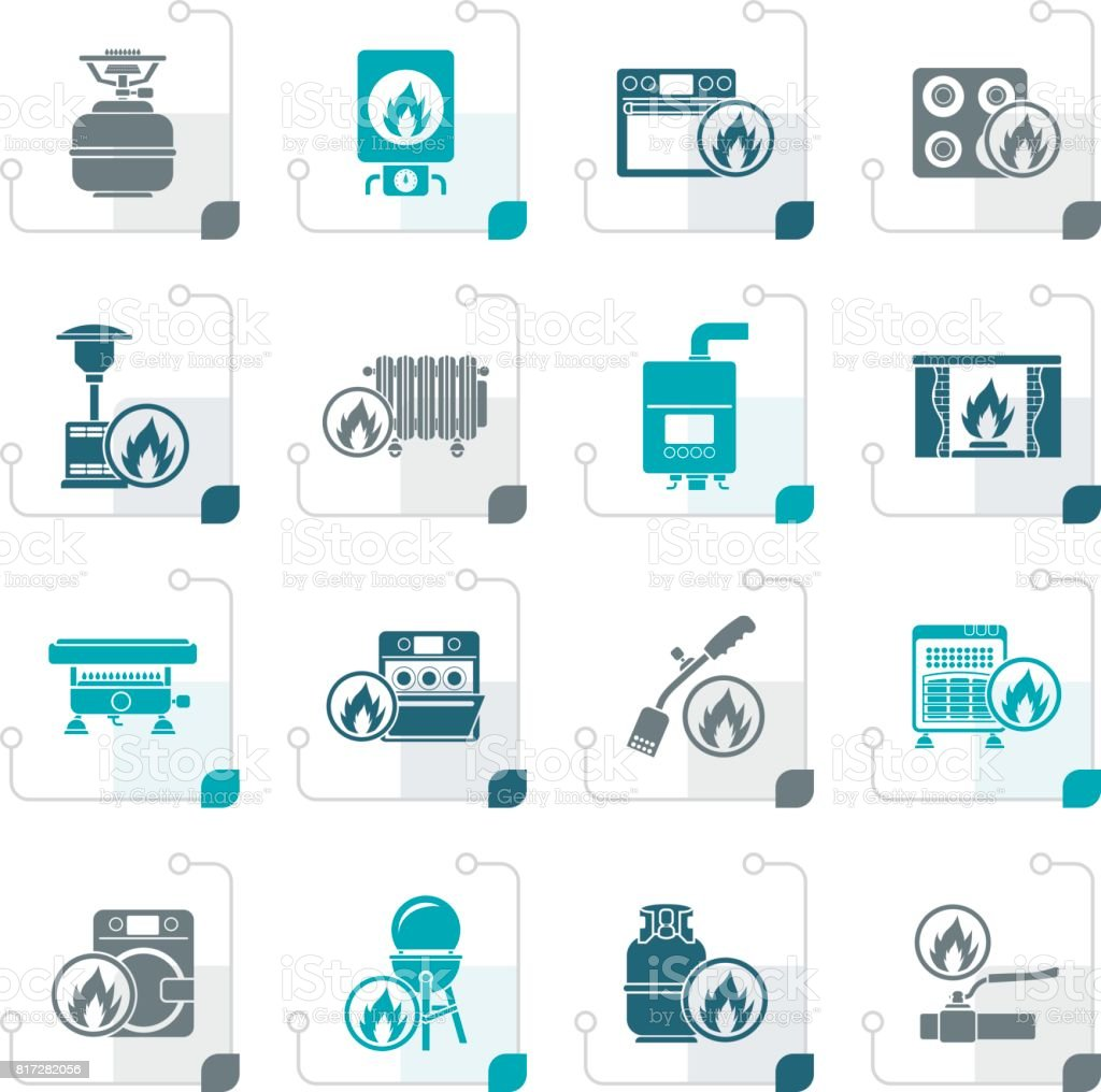 Stylized Household Gas Appliances icons vector art illustration