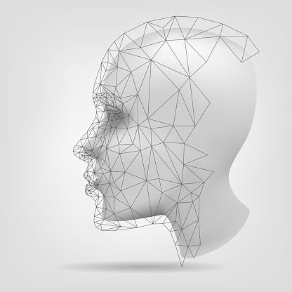 Stylized human head, 3d modeling