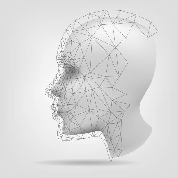 Stylized human head, 3d modeling vector art illustration