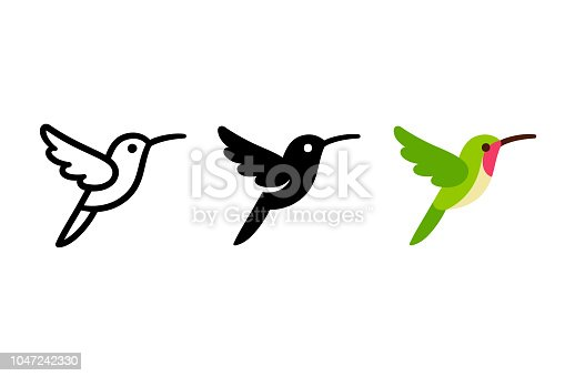 Stylized hummingbird icon in different styles: line art, solid black and color. Isolated colibri symbol vector illustration.