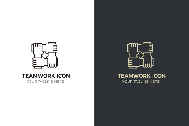 Stylized icon design with 4 hands holding together. Illustration for different concepts like teamwork, community, unity and equality vector eps10 four people stock illustrations