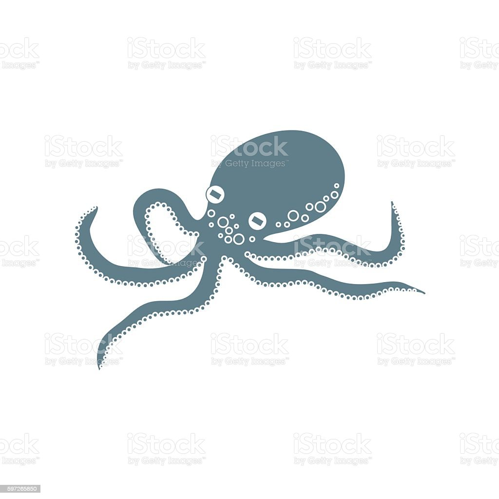 Stylized icon of a colored octopus on a white background royalty-free stylized icon of a colored octopus on a white background stock vector art & more images of abstract