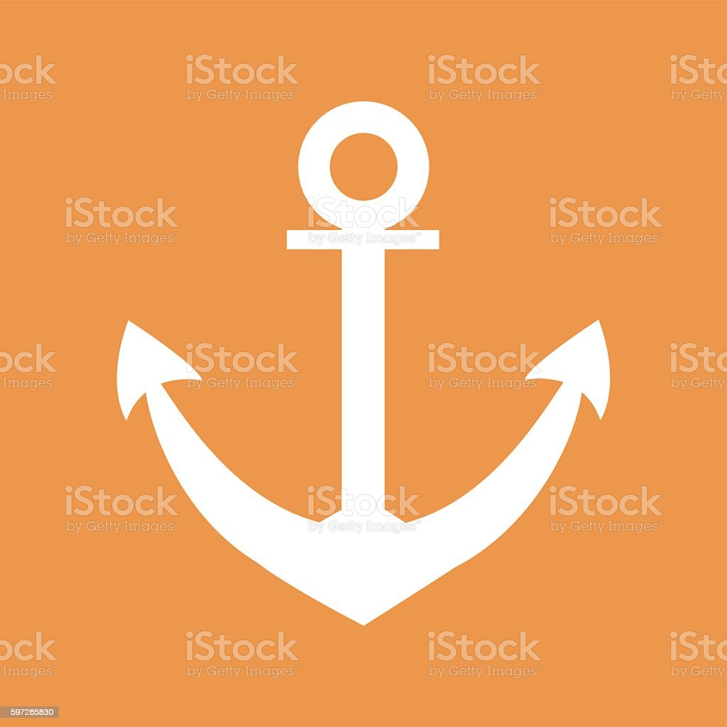 Stylized icon of anchor in white on a colored background stylized icon of anchor in white on a colored background – cliparts vectoriels et plus d'images de carré - composition libre de droits
