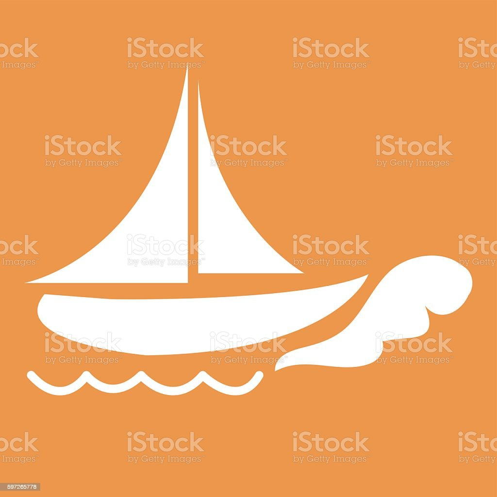 Stylized icon of ship in white on a colored background Lizenzfreies stylized icon of ship in white on a colored background stock vektor art und mehr bilder von computergrafiken