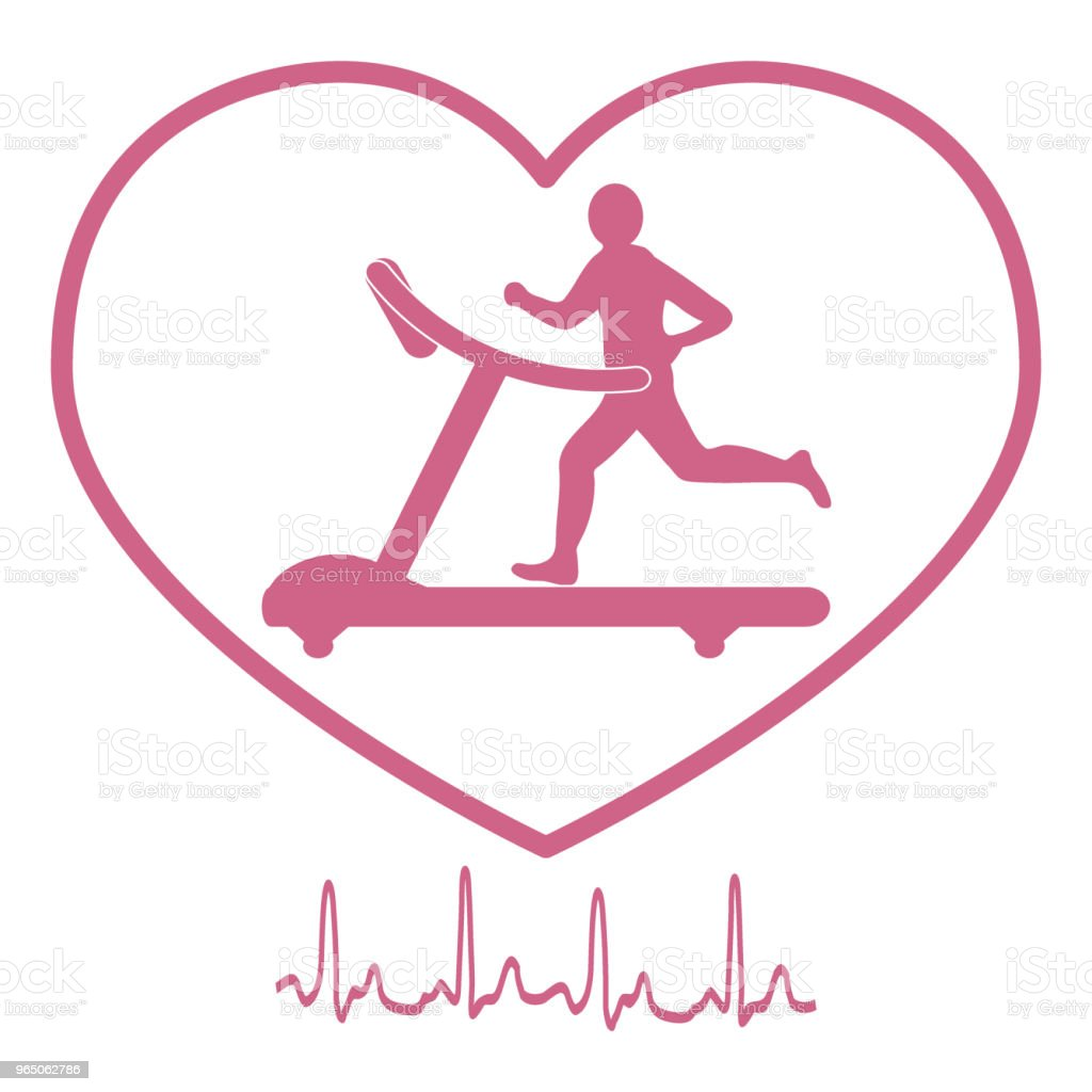 Stylized icon of the man jogging on a treadmill within the heart icon and heart rhythm royalty-free stylized icon of the man jogging on a treadmill within the heart icon and heart rhythm stock vector art & more images of adult