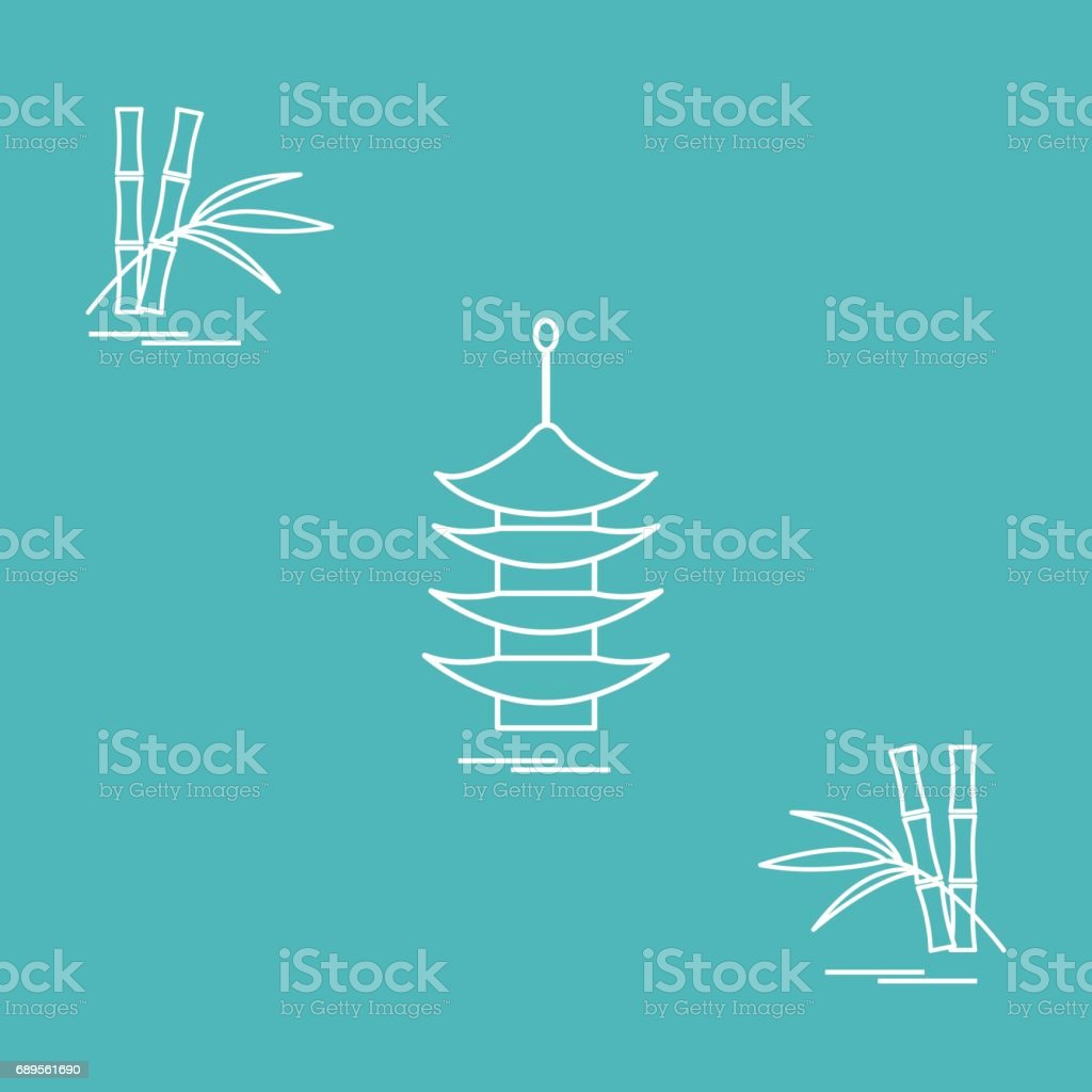 Stylized icon of the pagoda and bamboo. Travel and leisure. vector art illustration