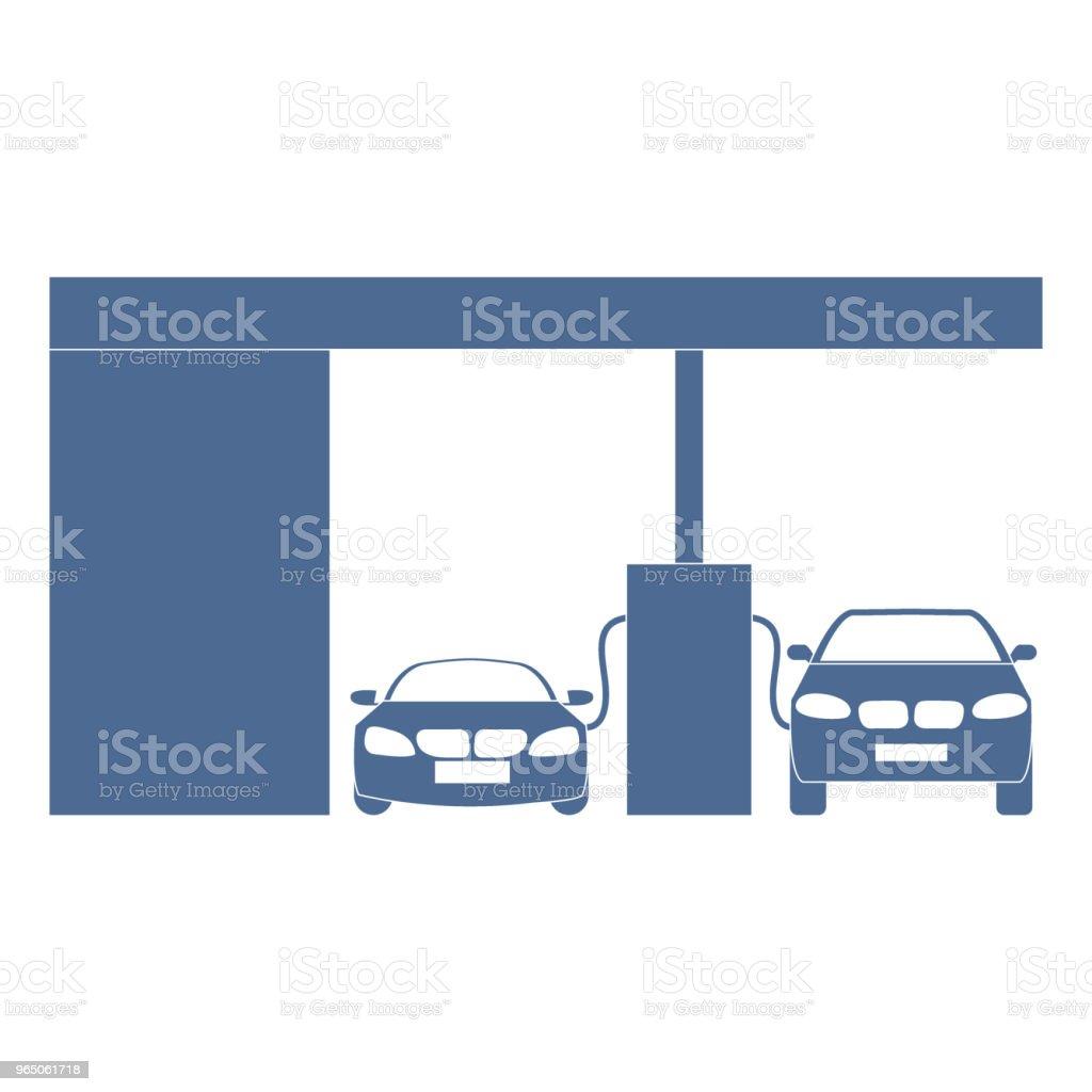 Stylized icon of the petrol station with two cars stylized icon of the petrol station with two cars - stockowe grafiki wektorowe i więcej obrazów benzyna royalty-free