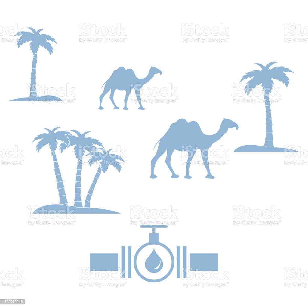 Stylized icon of the pipe with a valve and fuel drops with palm trees and camels royalty-free stylized icon of the pipe with a valve and fuel drops with palm trees and camels stock vector art & more images of animal