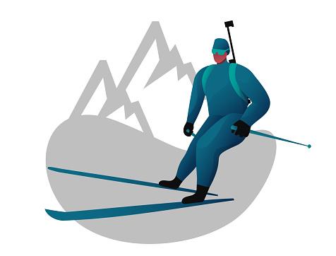 stylized illustration of a biathlon skier, biathlon competitions