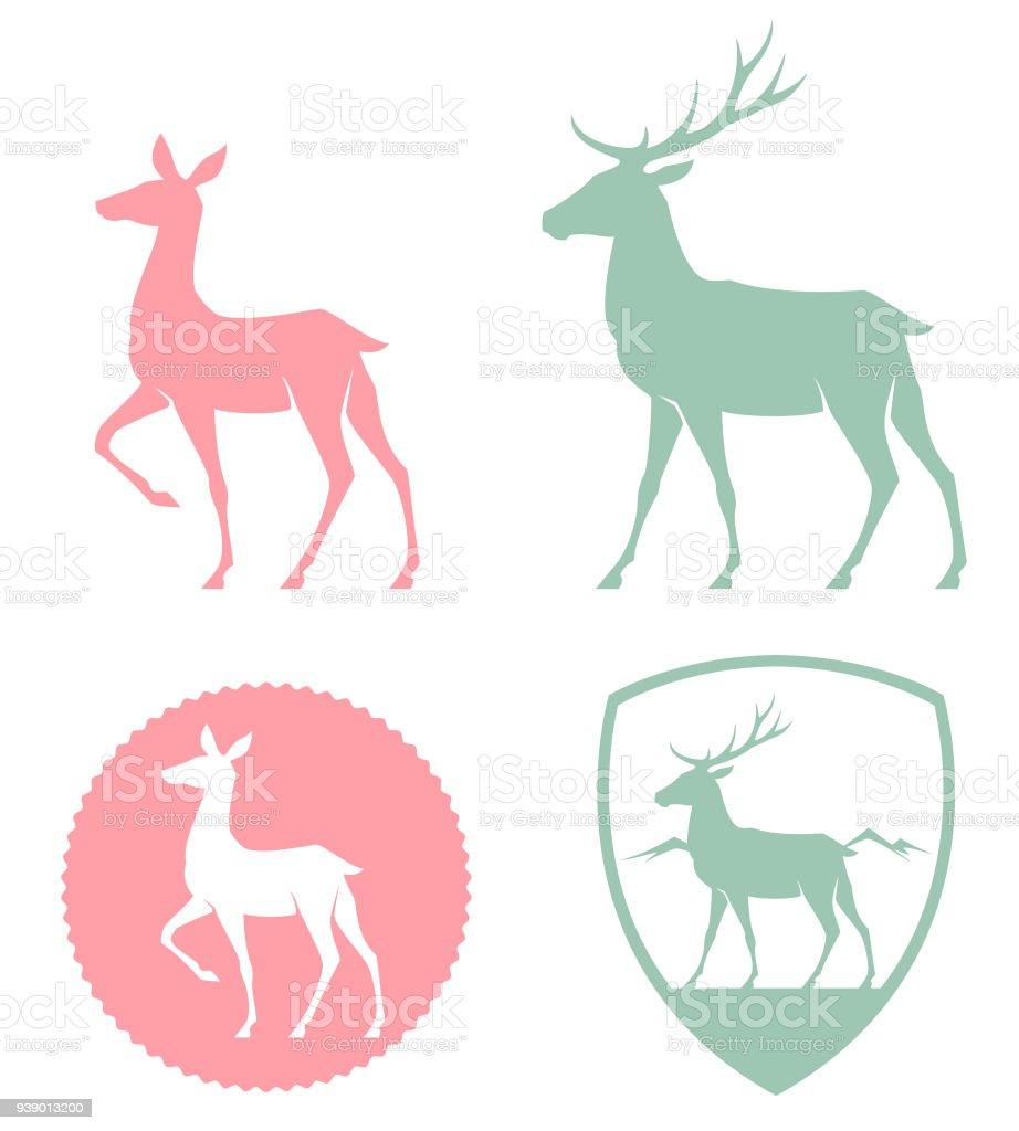 illustration stylisée d'une biche et cerf dans des couleurs pastel - Illustration vectorielle