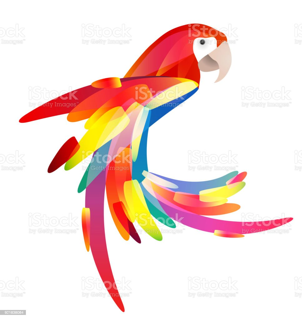 Stylized illustration of a parrot with a multicolored tail. royalty-free stylized illustration of a parrot with a multicolored tail stock illustration - download image now