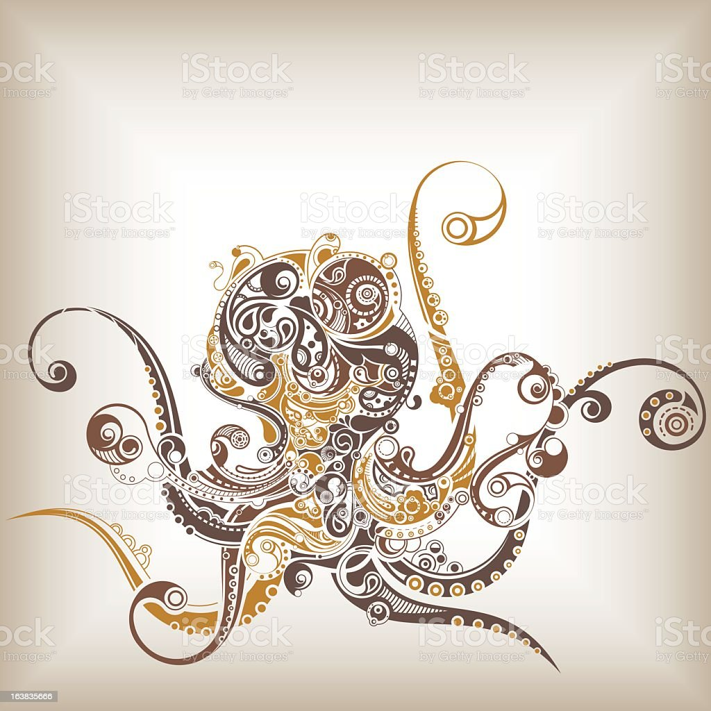 Stylized illustration of an octopus in brown earth tones vector art illustration