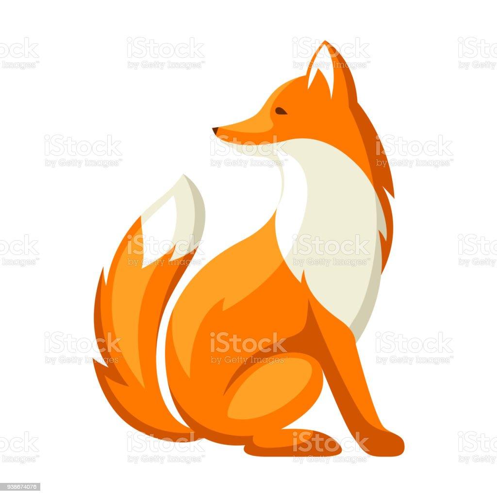 Estilizada ilustración de fox. Animal de bosque arbolado sobre fondo blanco - ilustración de arte vectorial