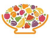 Stylized image of a bowl of fruit