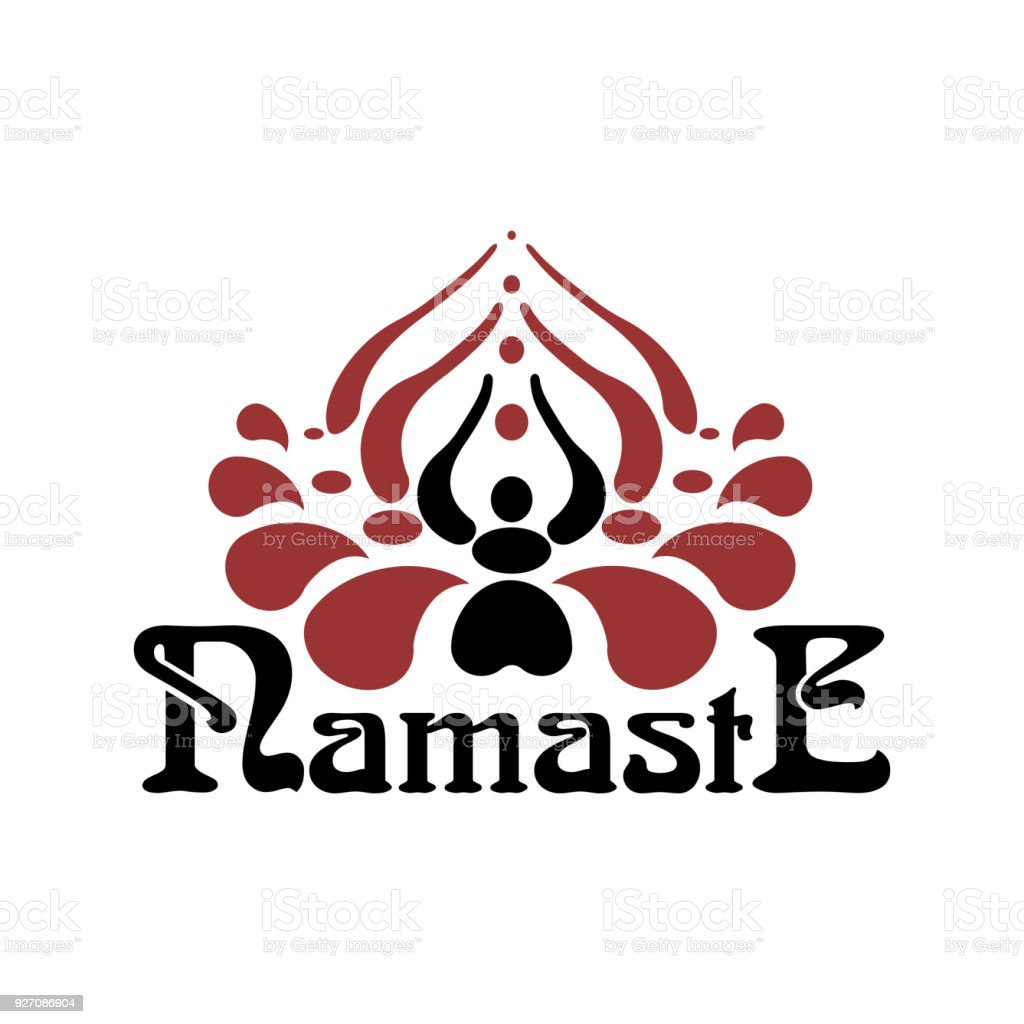 Stylized indian womans hand greeting posture of namaste inside of stylized indian womans hand greeting posture of namaste inside of lotus flower namaste font royalty mightylinksfo Gallery