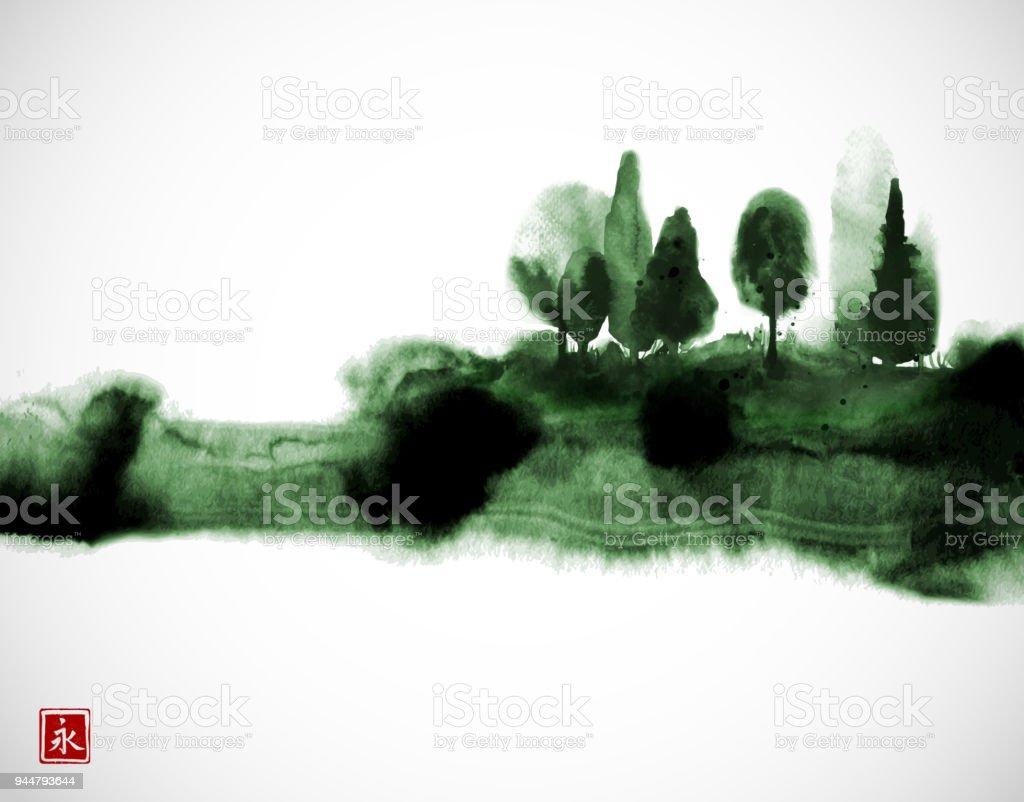 Stylisé Encre Laver Peinture Avec Arbres Vert Forêt Brumeuse