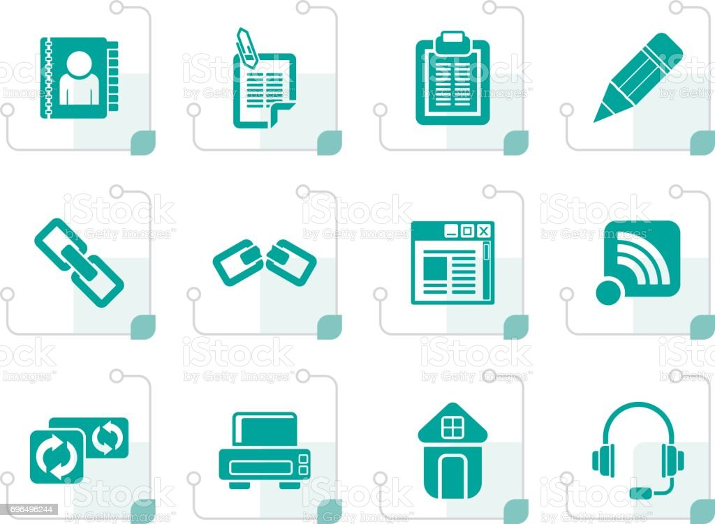 Stylized internet and website icons vector art illustration