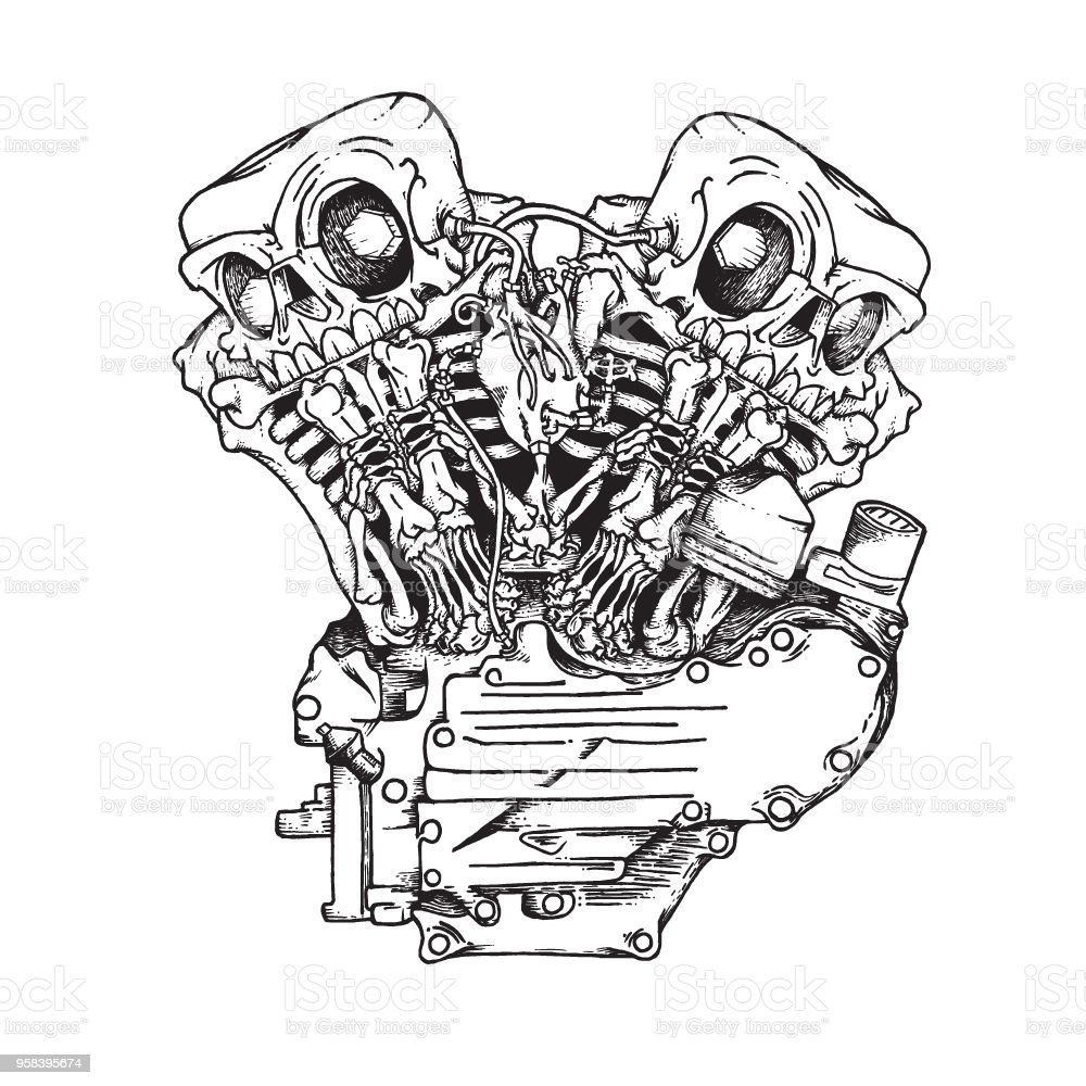 Stylized Knuckle Twin Motorcycle Engine Stock Vector Art More