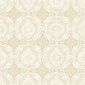 Seamless Christmas Pattern of Vintage Lacy Ornaments. Highly detailed with vines, berries, stars, holly, and snowflakes.
