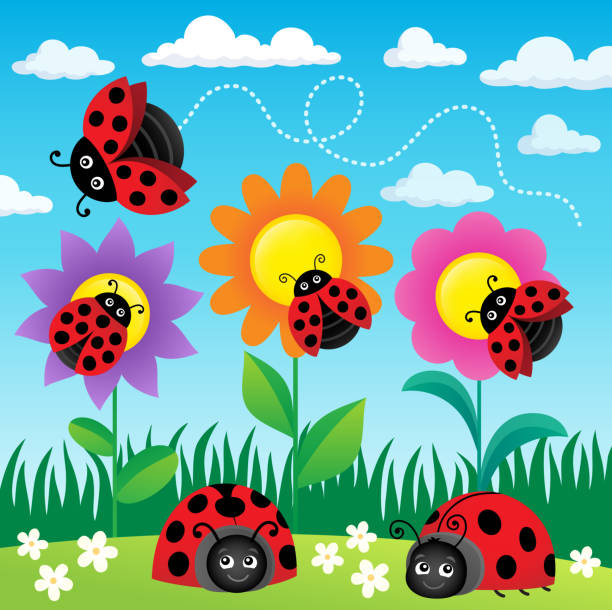 Stylized ladybugs theme image 6 – artystyczna grafika wektorowa