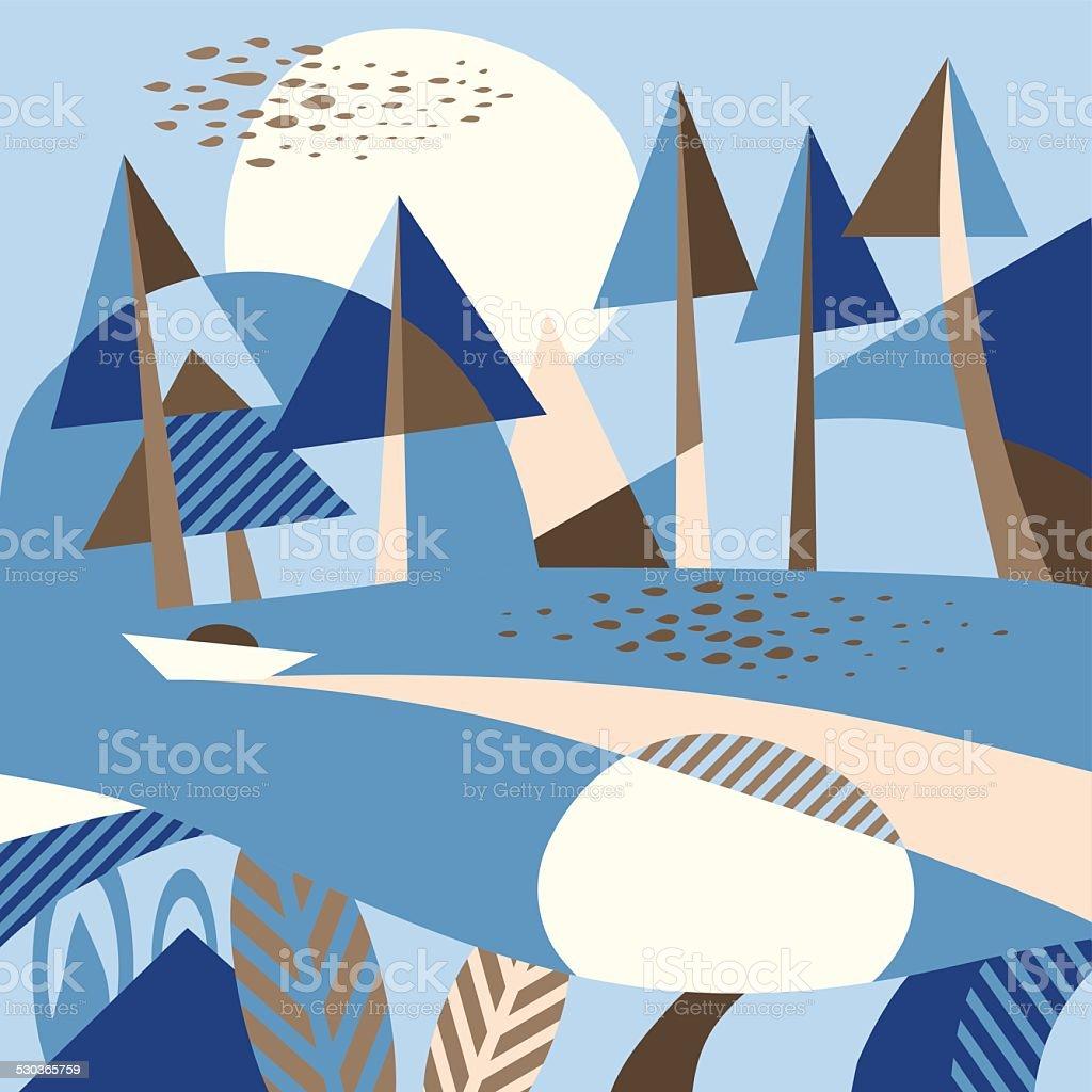 Stylized landscape vector art illustration