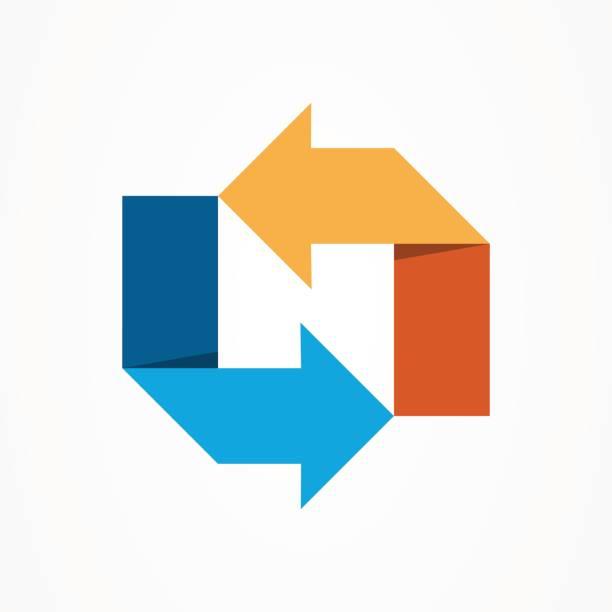 bildbanksillustrationer, clip art samt tecknat material och ikoner med stiliserade bokstaven n, pilen mall - chain studio