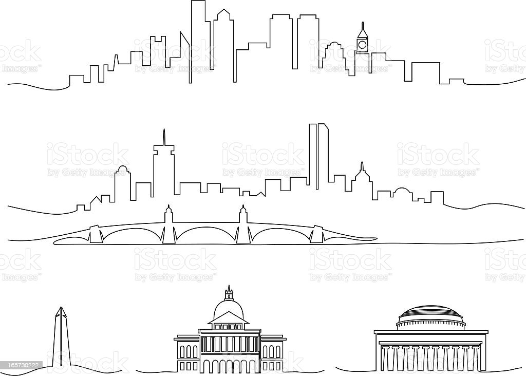 Stylized Line Drawing Of Boston vector art illustration