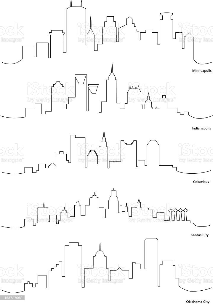 Stylized Line Drawings of American Cities vector art illustration