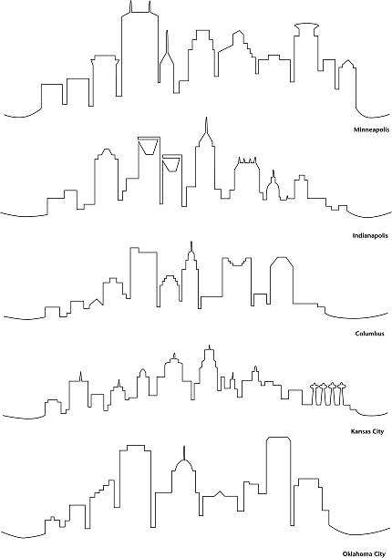 Line Drawing Ks : Royalty free kansas city missouri clip art vector images