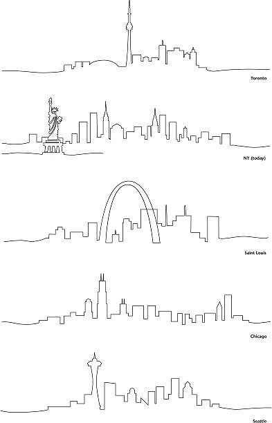 Stylized Line Drawings of North American Cities vector art illustration