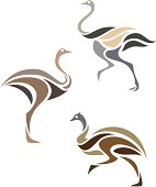 Stylized long-necked birds in three muted color schemes