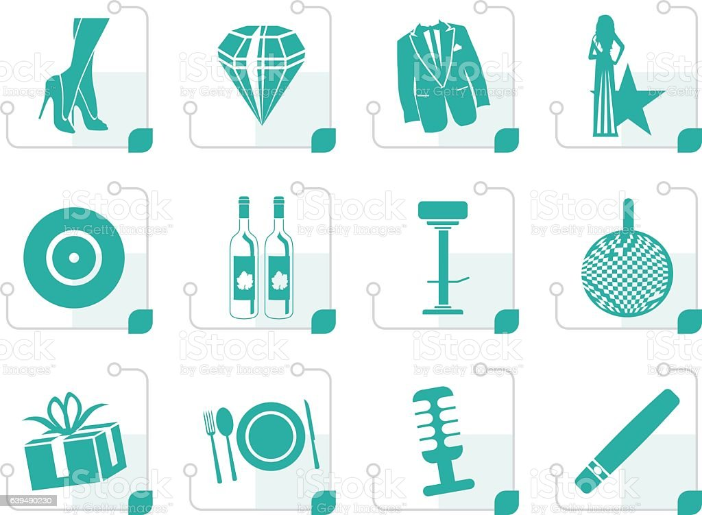 Stylized Luxury party and reception icons vector art illustration