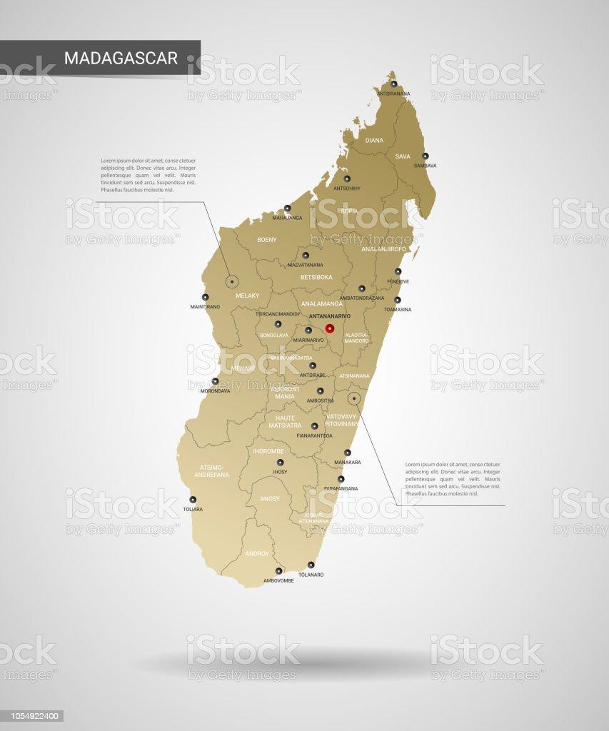 Madagaskar Karte.Stilisierte Madagaskar Karte Vektorillustration Stock Vektor Art Und Mehr Bilder Von Bildeffekt