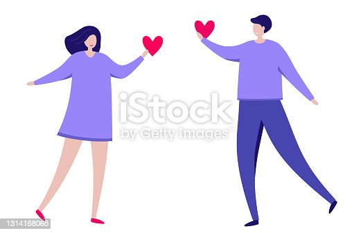 istock Stylized man and woman give each other their hearts. Couple in love. He and she. Enamored guy and a girl with hearts in their hands. Colorful flat vector illustration. Isolated on a white background. 1314168065