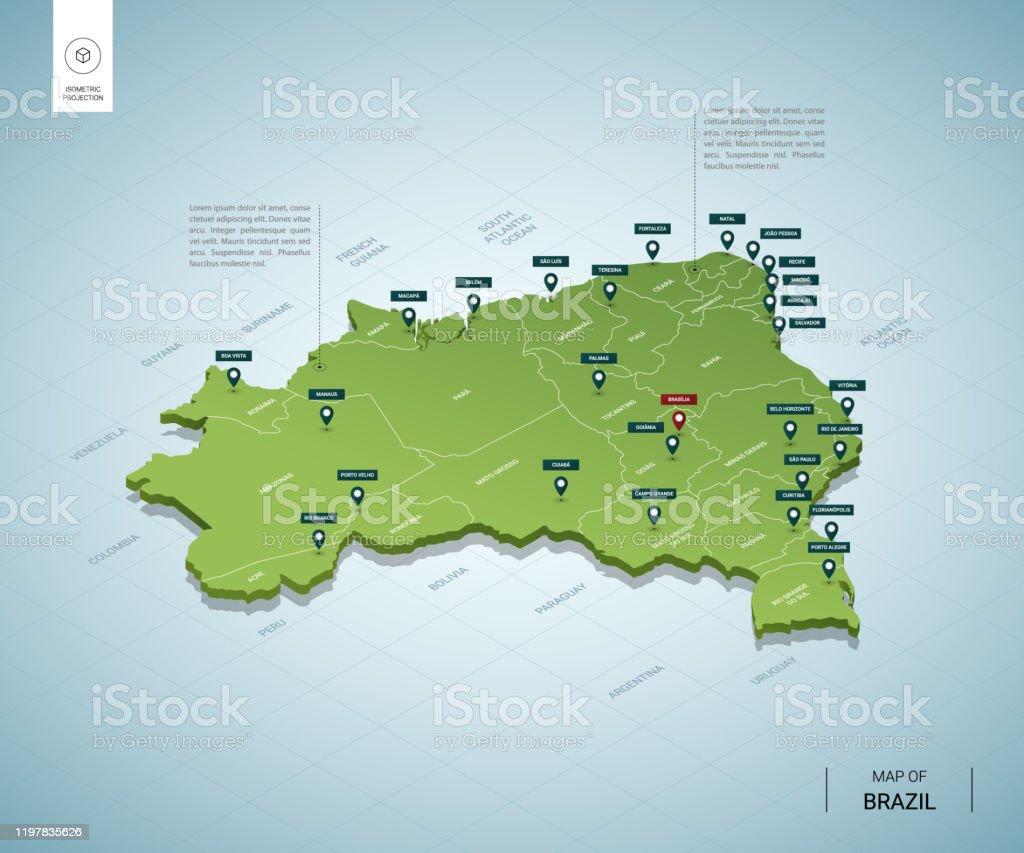 Mapa estilizado do Brasil. Mapa verde 3D isométrico com cidades, fronteiras, capital, regiões. Ilustração do vetor. Camadas editáveis claramente rotuladas. Língua inglesa. - Vetor de Azul royalty-free