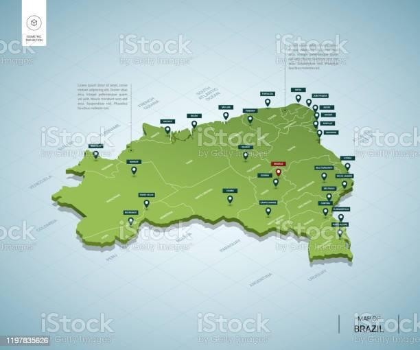 Vetores de Mapa Estilizado Do Brasil Mapa Verde 3d Isométrico Com Cidades Fronteiras Capital Regiões Ilustração Do Vetor Camadas Editáveis Claramente Rotuladas Língua Inglesa e mais imagens de Azul