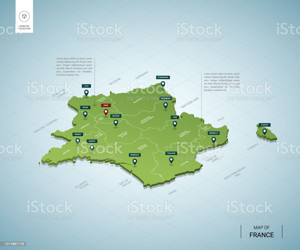 Picture of: Stylized Map Of France Isometric 3d Green Map With Cities Borders Capital Paris Regions Vector Illustration Editable Layers Clearly Labeled English Language Stock Illustration Download Image Now Istock