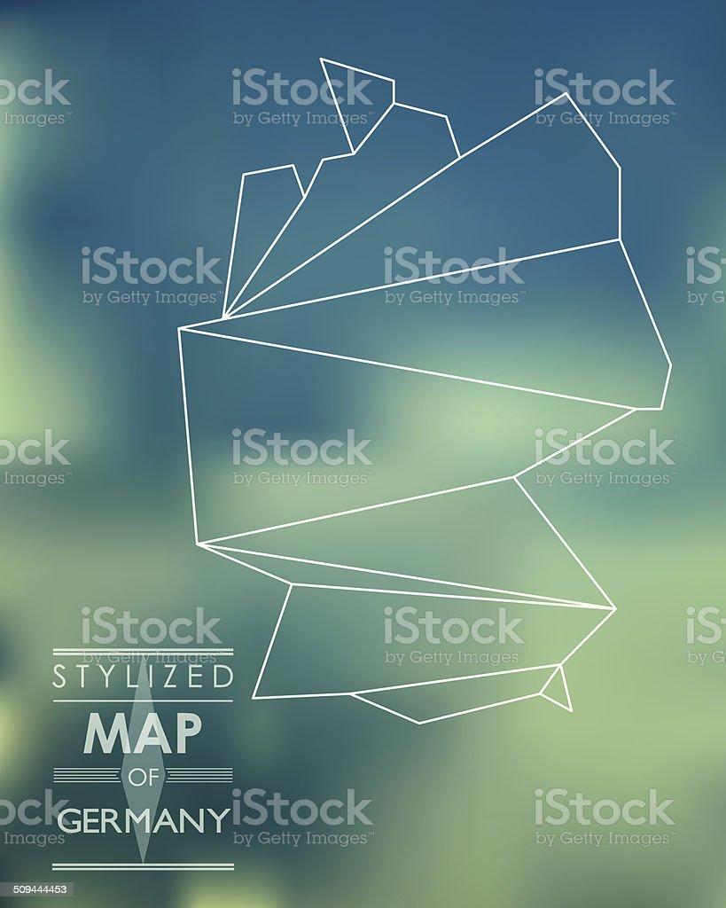 Stylized map of Germany vector art illustration