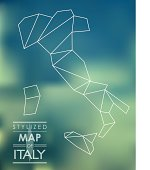 stylized map of Italy