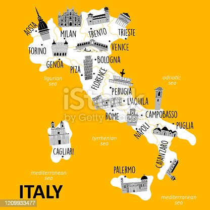 istock Stylized map of Italy with main attractions and landmarks. Vector illustration. 1209933477