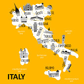 Stylized map of Italy with main attractions and landmarks. Vector illustration