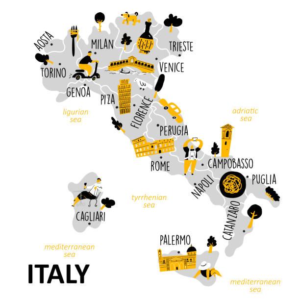 illustrazioni stock, clip art, cartoni animati e icone di tendenza di stylized map of italy with main attractions, landmarks and cultural symbols. - palermo città