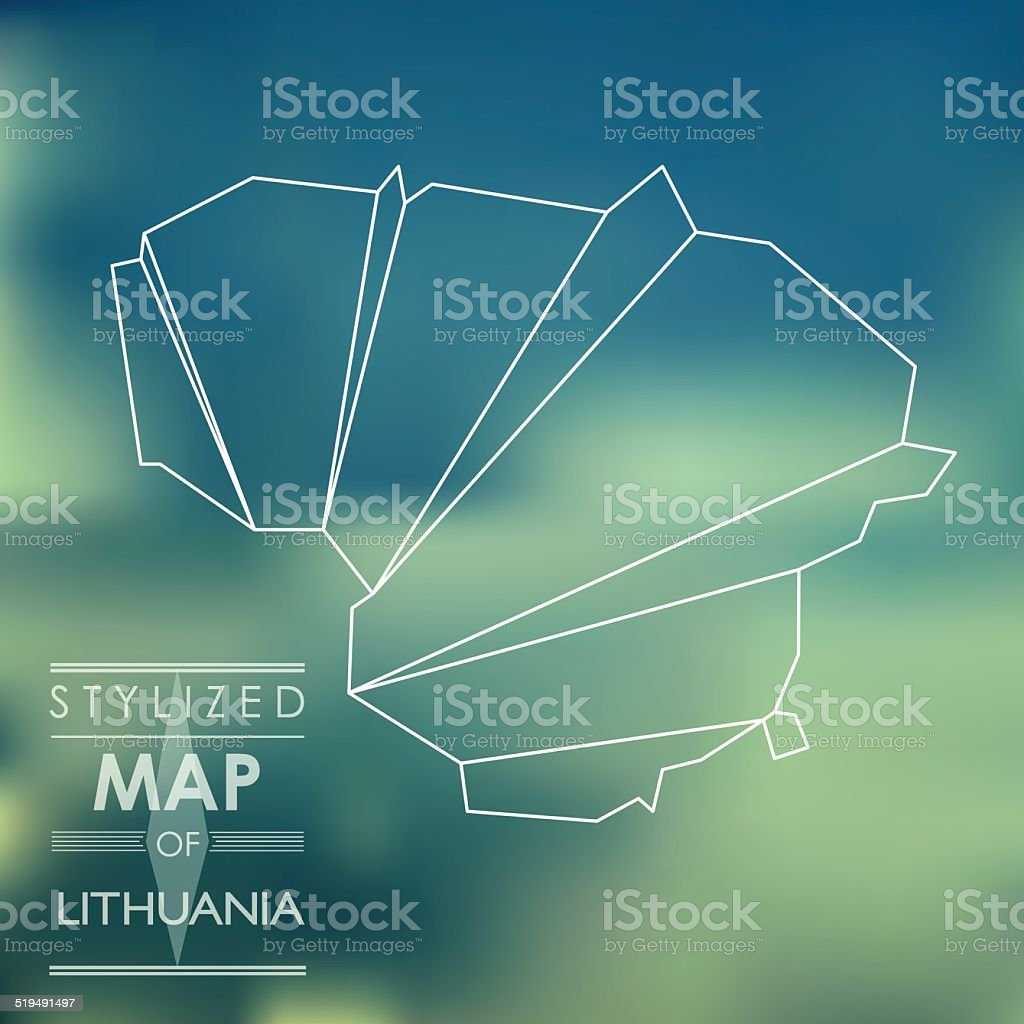 stylized map of Lithuania vector art illustration