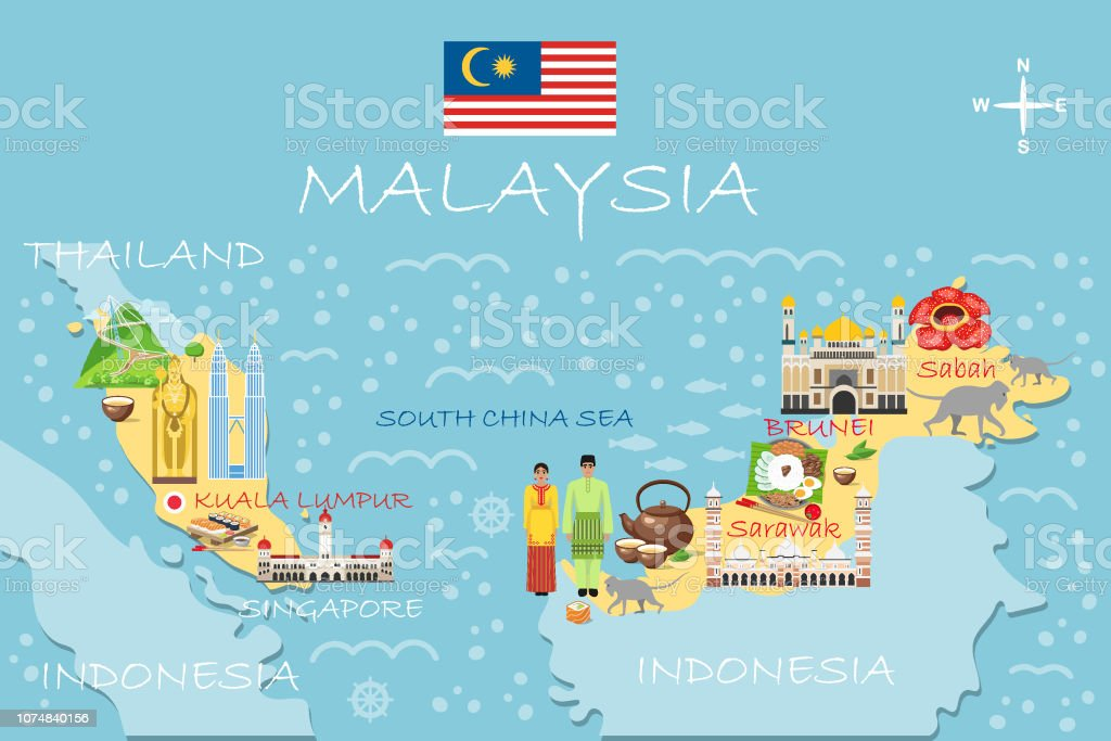 Stylized Map Of Malaysia Travel Illustration With Malaysian ... on myanmar on a map, samoan islands on a map, guangxi on a map, nepal on a map, singapore on a map, the sudan on a map, santa domingo on a map, southern india on a map, waziristan on a map, east timor on a map, heard island on a map, syria on a map, st john island on a map, world map, siam on a map, bangladesh on a map, sri lanka on a map, the seychelles on a map, kabul river on a map, dr congo on a map,