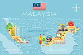 Stylized map of Malaysia. Travel illustration with malaysian landmarks, architecture, national flag, and other symbols in flat style. Infographic with symbols. Travel and Tourist Attraction. Vector illustration
