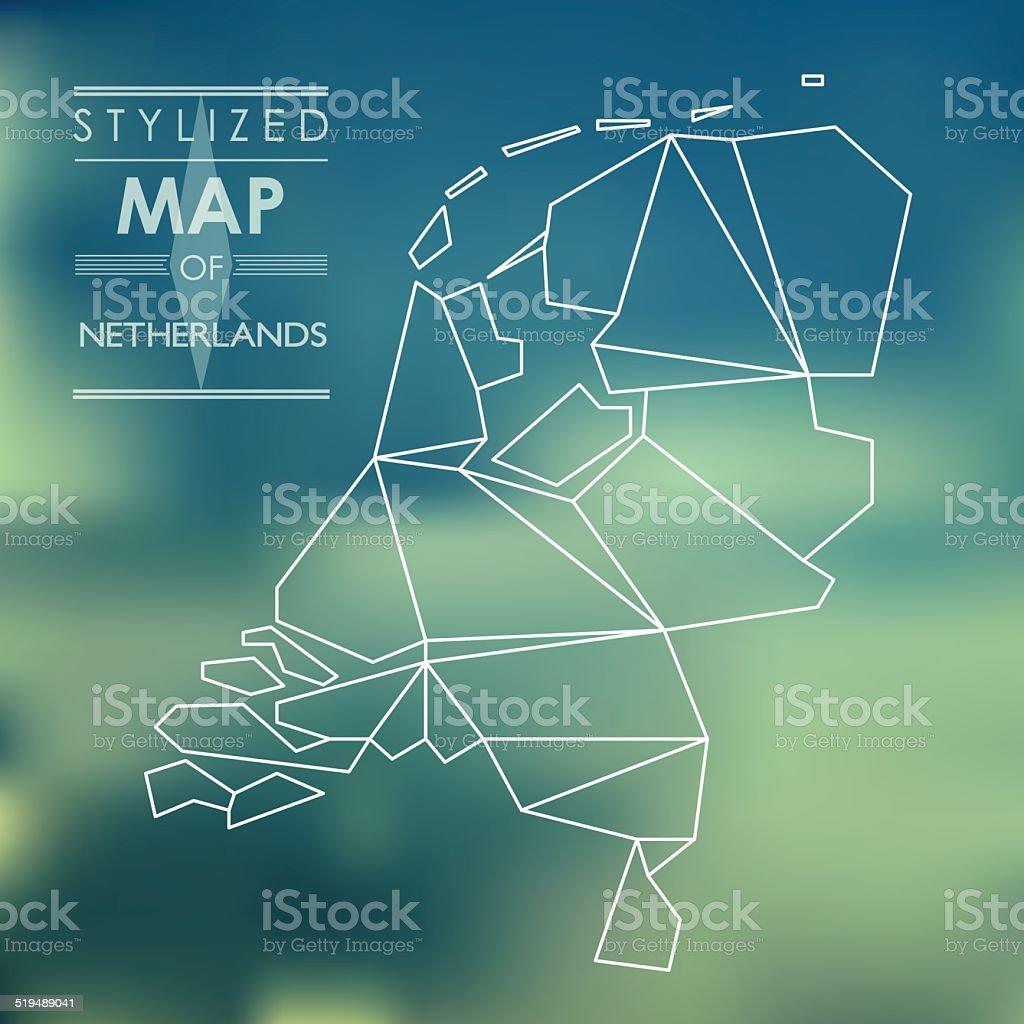 stylized map of Netherlands vector art illustration