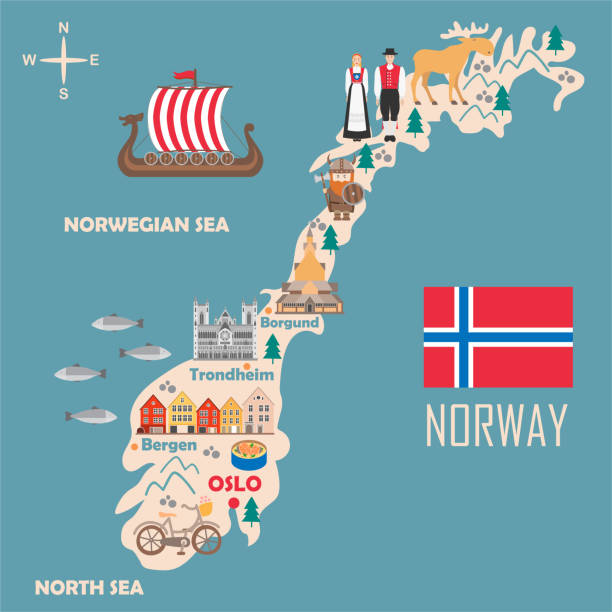 Stylized map of Norway Stylized map of Norway. Travel illustration with norwegian landmarks, architecture, national flag and other symbols in flat style. Vector illustration norway stock illustrations