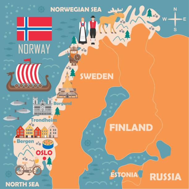 illustrazioni stock, clip art, cartoni animati e icone di tendenza di stylized map of norway - fiordi