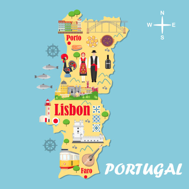 ilustrações de stock, clip art, desenhos animados e ícones de stylized map of portugal. travel illustration with portuguese landmarks - porto portugal