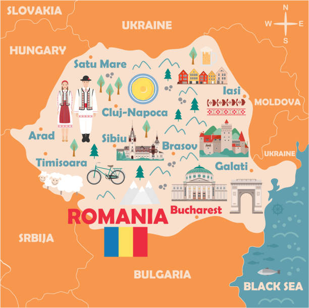 Stylized map of Romania Stylized map of Romania. Travel illustration with romanian landmarks, architecture, national flag and other symbols in flat style. Vector illustration romania stock illustrations